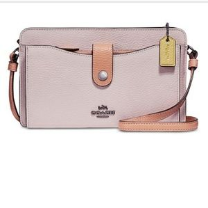 🆕 Coach pebble leather crossbody pink silver